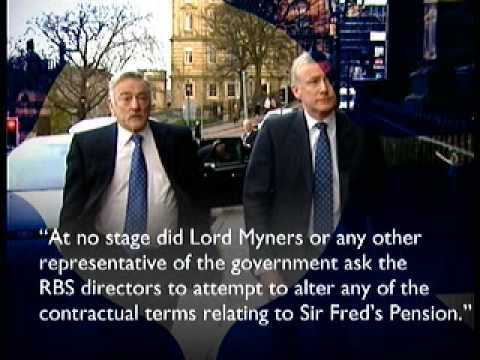 Lord Myners Knew the Value of Sir Fred Goodwins Pension
