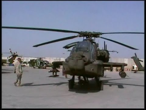 Apache Helicopters in Basra, Iraq. Shoots of the Apache being towed and taking off | AiirSource