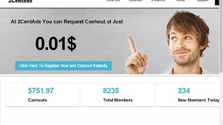 Wacth Ads Earn Real Money 2Centads  No minimum Payout