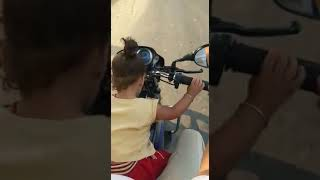 Little kid drive bike nicely