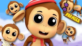 Five Little Monkeys Jumping On The Bed | English Rhymes | Preschool Songs by Farmees