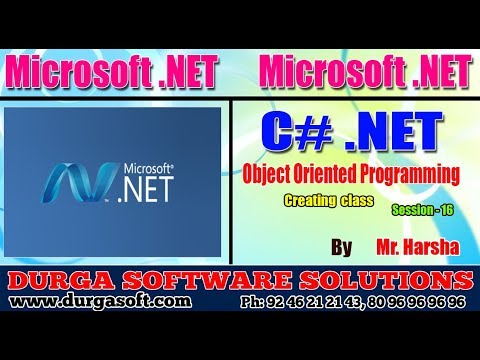 .Net Tutorial || C#.Net Session - 16|| Object Oriented Programming || Creating class || by Harsha