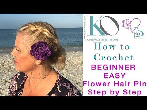 How to Crochet Flower Hair Pin for Beginner Step by Step Easy Beautiful All Ages