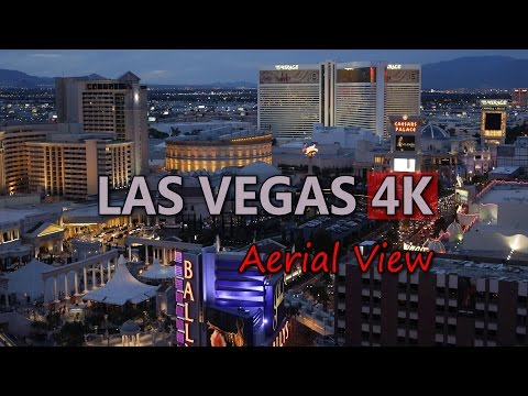 Ultra HD 4K Las Vegas Travel Aerial View Skyline Cityscape Day Night Trip UHD Video Stock Footage