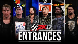 WWE 2K17 Entrances: AJ Styles, Nakamura, Seth Rollins, Roman Reigns, Ambrose & John Cena! #WWE2K17