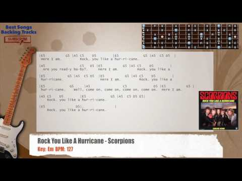 Rock You Like A Hurricane - Scorpions SOLO/RIFF Guitar Backing Track With Chords And Lyrics