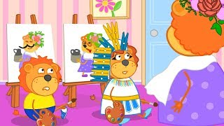 Lion Family Funny Children's Drawings Cartoon for Kids