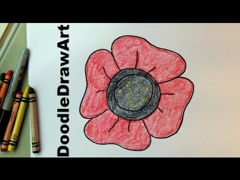 How to draw an easy poppy for kids video drawing for Poppy drawing step by step