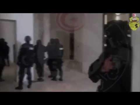 Anti-Terrorism Brigade BAT unit Tunisian police in action during the attack of Tunis Bardo museum