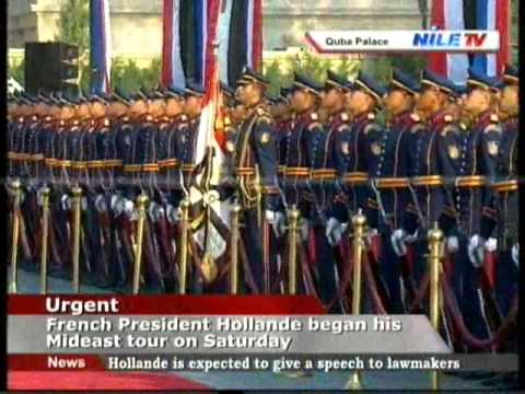 President El Sisi, President Hollande arrive to Quba Palace