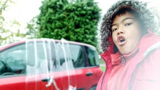Cling film prank on dads car