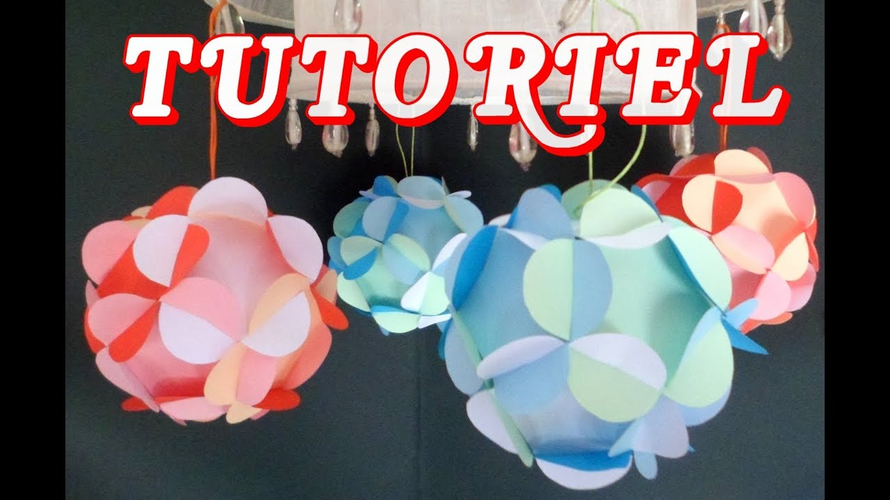Ball paper 3d boule avec des fleurs en papier hd youtube - Origami boule de noel ...