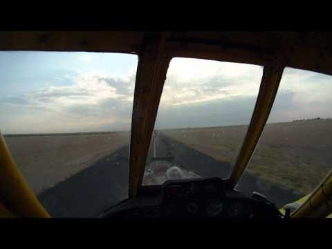 Crop Dusting - Air Tractor 402 - Taxi, Takeoff, and Landing - Elkhart, KS.wmv