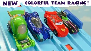 Cars 3 McQueen Learn Colors Team Racing with Hot Wheels DC Comics & Marvel Avengers 4 Superheroes