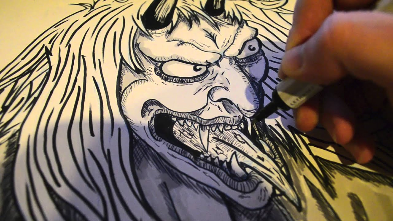 Drawing A Japenese Oni Demon Youtube