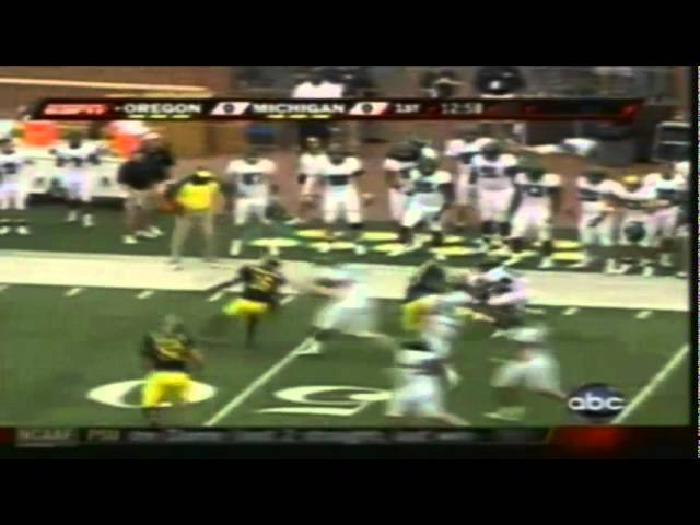 Oregon safety Matthew Harper intercepts a pass in the endzone vs. Michigan 9-08-07