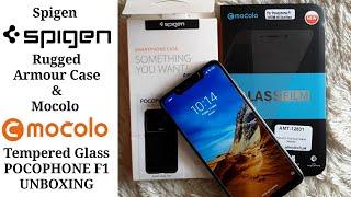 SPIGEN Rugged Armor case for POCOPHONE F1 & MOCOLO Protective Glass UNBOXING!!!