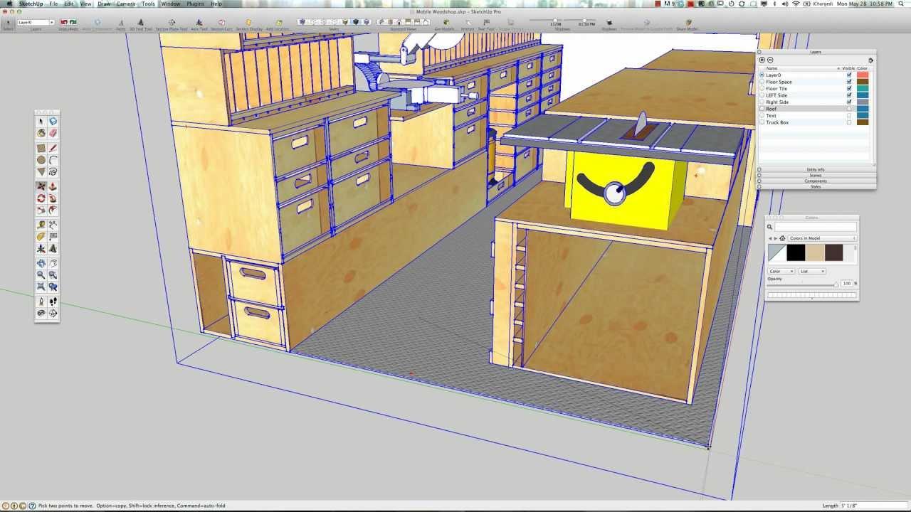Paulk mobile woodshop sketchup model youtube for Mobel onlineshop design