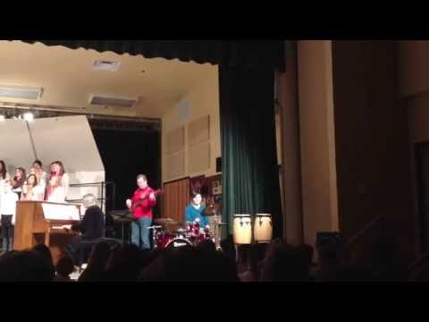 "20140324 Kalispell Middle School Grade 7 Choir ""Route 66"" featuring Colin Kordell, drums"