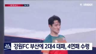 강원FC 부산에 2대4 대패, 4연패 수렁