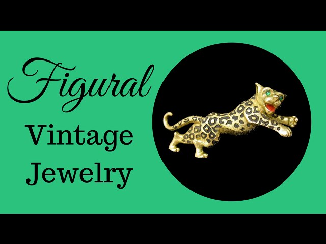 Figural Vintage Jewelry: Jomaz Leopard Brooch Green Glass Eyes by My Classic Jewelry