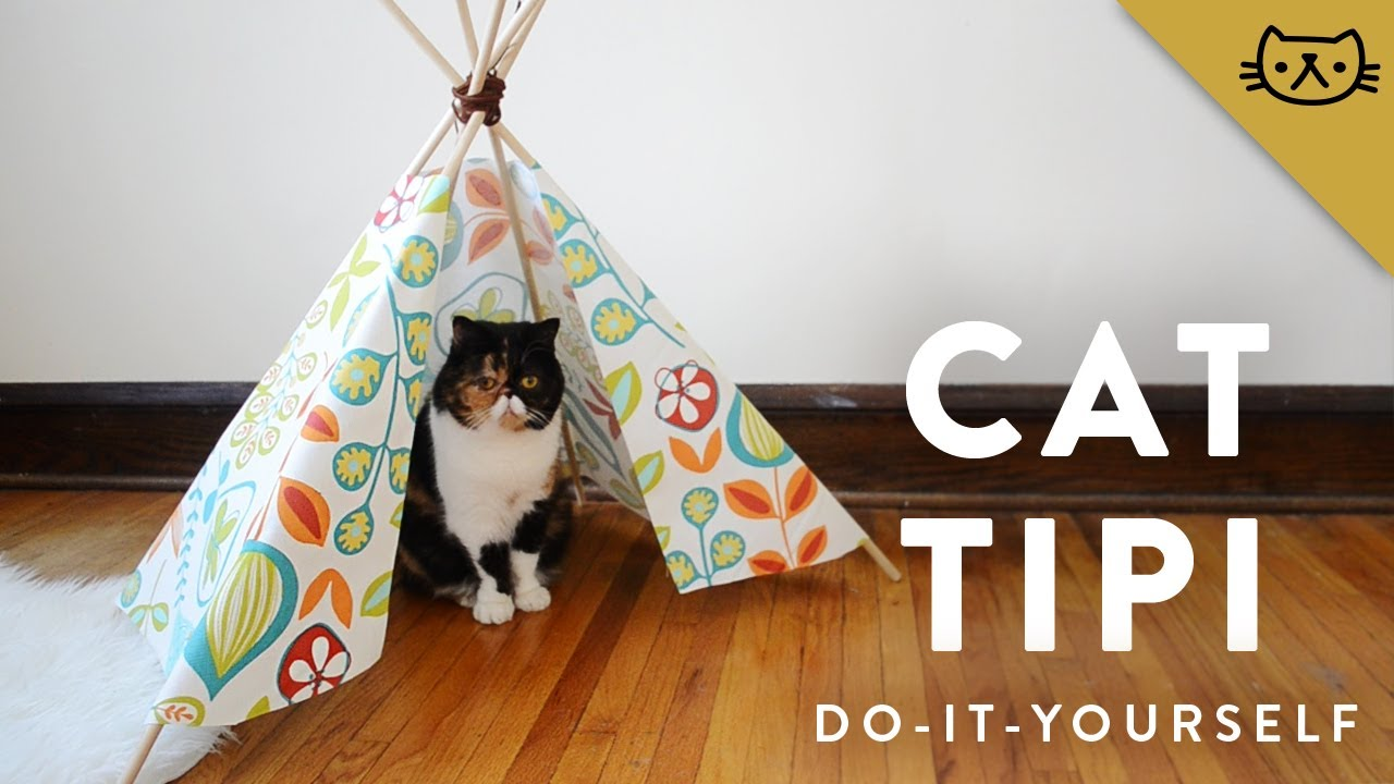 How to make a cat tipi youtube for Diy cat teepee