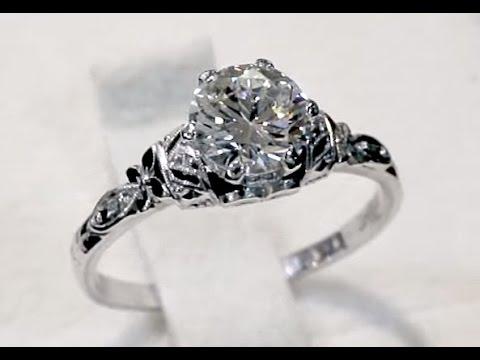0.87 ct Diamond and Platinum Solitaire Ring - Antique Circa 1930 A5159
