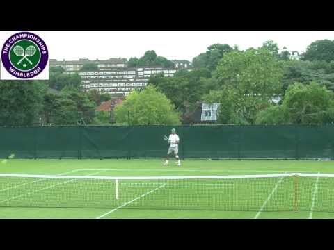 Rafael Nadal practices at Wimbledon