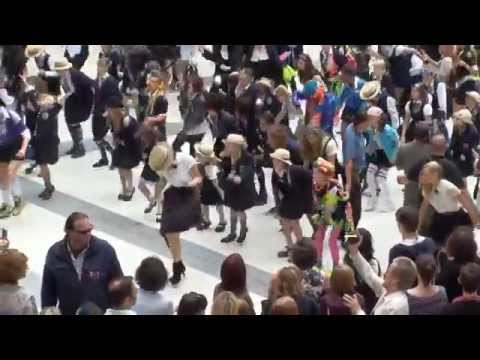 Filming St Trinians at Liverpool Street Station.
