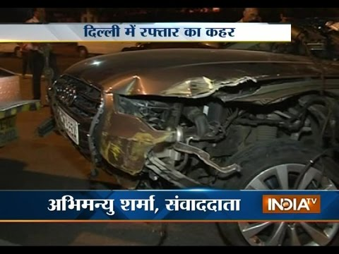 Audi car rams into police barricade in New Delhi