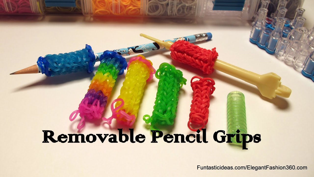 Crocheting Loom : Rainbow Loom Removable Pencil/Crochet Hook Grip - How to Tutorial...