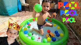 Learn Colors With Nursery Rhymes Song | Ball in the pool around the balls Fun boy video