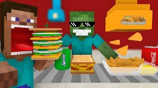 Monster School: WORK AT SANDWICH PLACE! - Minecraft Animation