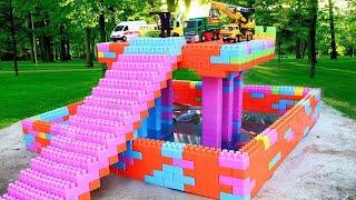 Xây dựng nhà để xe ô tô dưới nước cho trẻ em | Xe xây dựng Đồ chơi Đồ ch