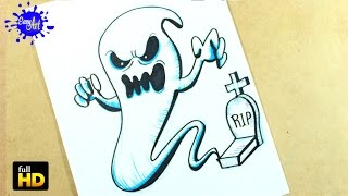 HALLOWEEN / Como dibujar un Fantasma paso a paso / how to draw a Ghost.