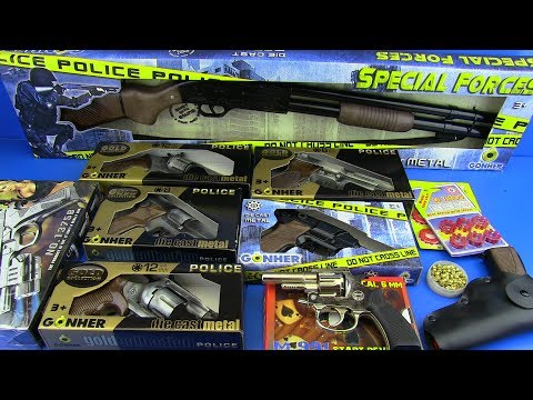 GUNS TOYS FOR KIDS !!! Cap Gun-Revolver.Shotgun Automatic Guns -Box of Toys !