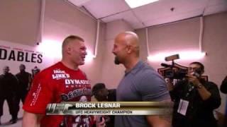 ufc brock Lesnar and the rock hug