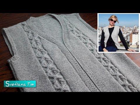 Видео вязание женских жилетов спицами