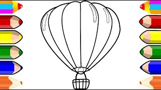 Hot Air Balloon Coloring Pages | Learn Color and Drawing for Kids | Amazing Kids Coloring Page
