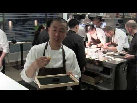 Corey Lee prepares and eats a dish at Benu