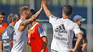 Cristiano Ronaldo, Ramos and Coentrão join up with the group