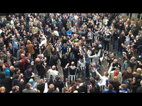 Newcastle fans in brugge  doing the  shola ameobi dance 8-11-12