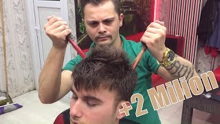 ASMR TURKISH BARBER MASSAGE (Razor Haircut,Head Massage,Back Massage,Shoulder Massage,Hair Cracking)