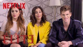 Danna Paola, Miguel Bernardeau and Mina El Hammani Teach You Spanish | Elite | Netflix