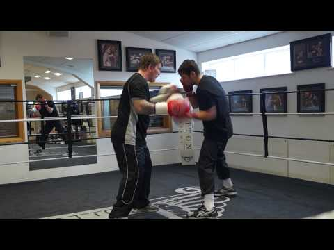Pauly Upton padwork with Ricky Hatton