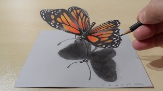 3D Drawing Butterfly - How to Draw 3D Butterfly - Magical Art on Paper