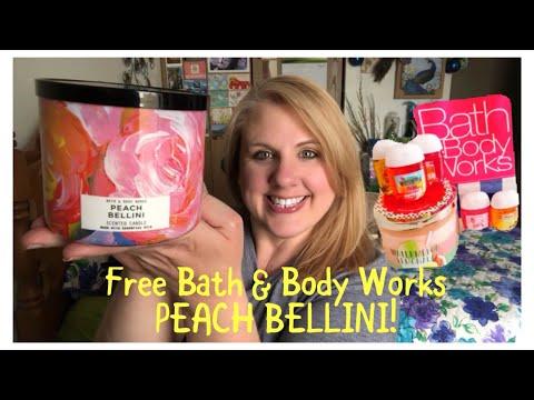 FREE BATH & BODY WORKS PEACH BELLINI CANDLE HAUL!