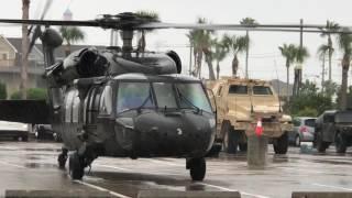 Black Hawk Take Off From Parking Lot