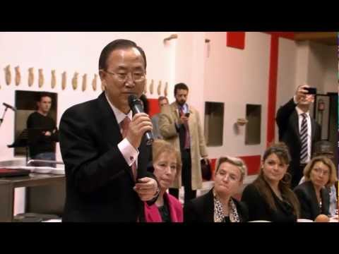 UN Secretary-General Ban Ki-moon speaking at the San Patrignano Drug Rehabilitation Centre