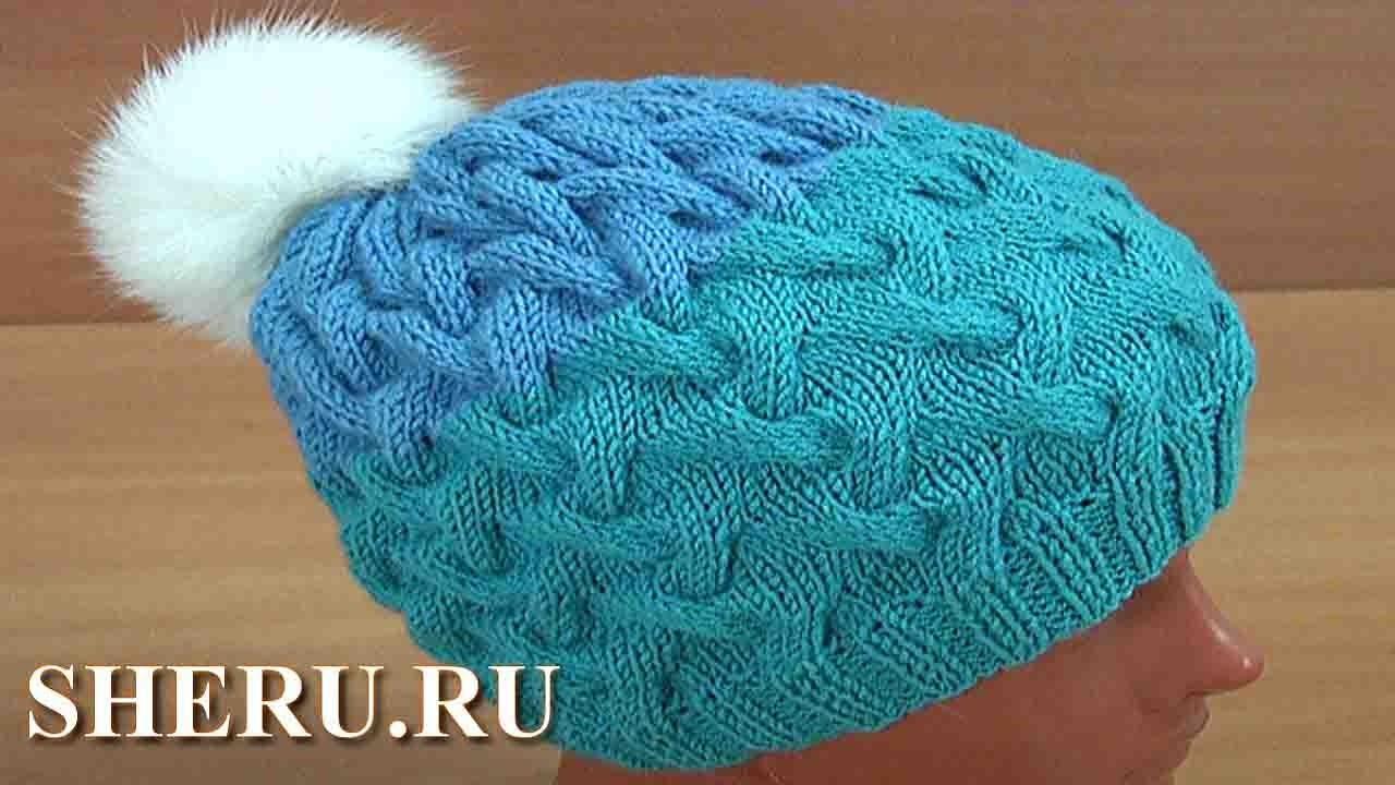 Красивые шапочки вязание спицами 334